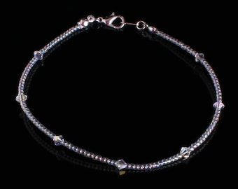 81f0fa2e6 Swarovski Clear Crystal and Clear ab Seedbead Anklet