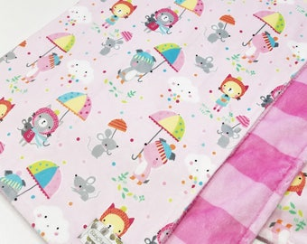 Clearance! Puddle Play Pink Minky Baby Blanket - Ready to Ship