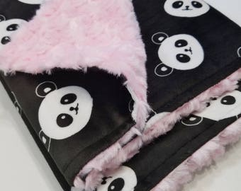 Personalized Black & Pink Panda Minky Baby Blanket -Made to Order