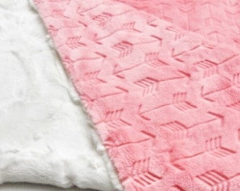 Personalized Coral Arrow Minky Baby Blanket - Made to Order