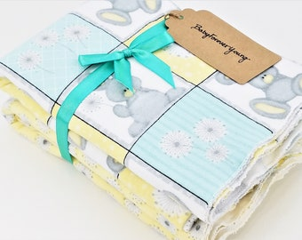 Set of 2 Flannel Receiving/Swaddle Blankets - Dandelion & Rabbit - Ready to Ship