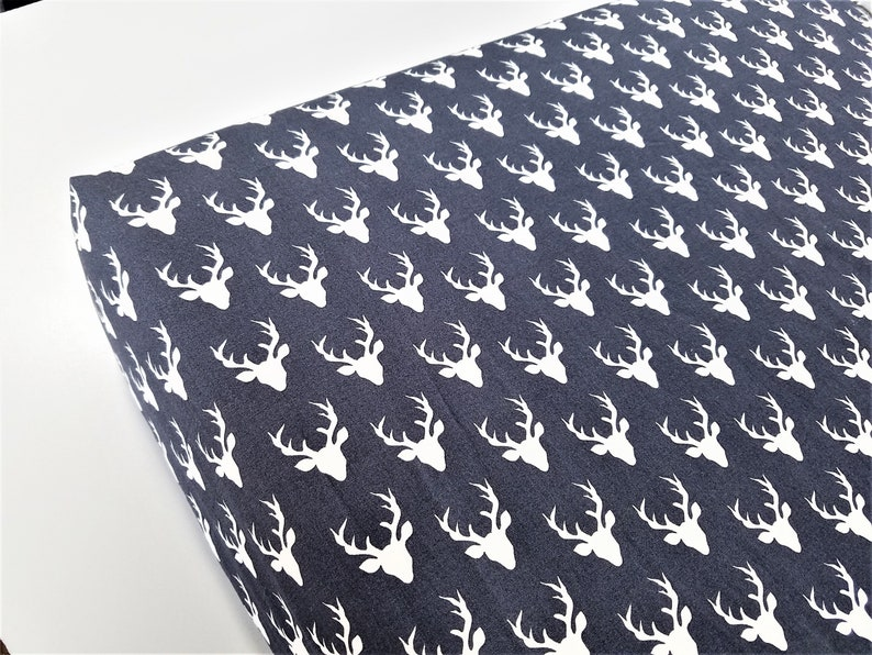 Ready to Ship Navy Antler Fitted CribToddler Sheet