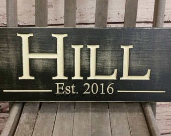 Carved Last Name Sign Wood Established Sign Plaque Last Name Sign Wall Sign Engraved Personalized Family Name