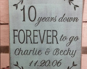 Anniversary Gift 10 years down forever to go, 10 year anniversary wedding date sign Custom Wood Signs