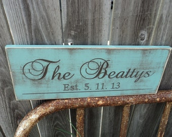 Last Name sign Aged and Weathered Personalized Family Name Established Sign Plaque Carved Engraved Last name sign