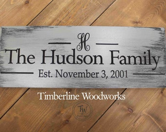 Custom Monogram Last Name sign Personalized Family Name Established Sign Plaque Last Name Sign Wall Sign Carved Engraved