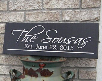 Carved hand painted Personalized Family last Name Sign Established Sign Plaque Last Name Sign Wall Sign Carved Engraved
