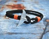 Black whale tail mens paracord nautical bracelet nautical wristband nautische armband pulsera hombre dolphin tail bracelet