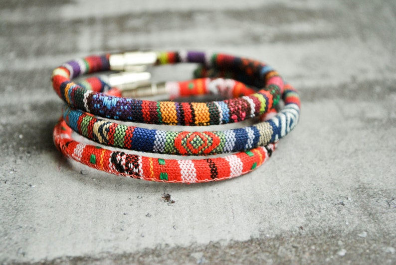 tribal wristband Set of 3 Boho chic peruvian colorful fabric native american bracelet ethnic jewelry masaai tribal armband
