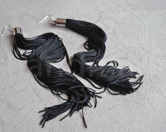Fringe earrings | tassel earrings | black  tassel earrings | long earrings | large earrings | extra long earrings | boucles d'oreille