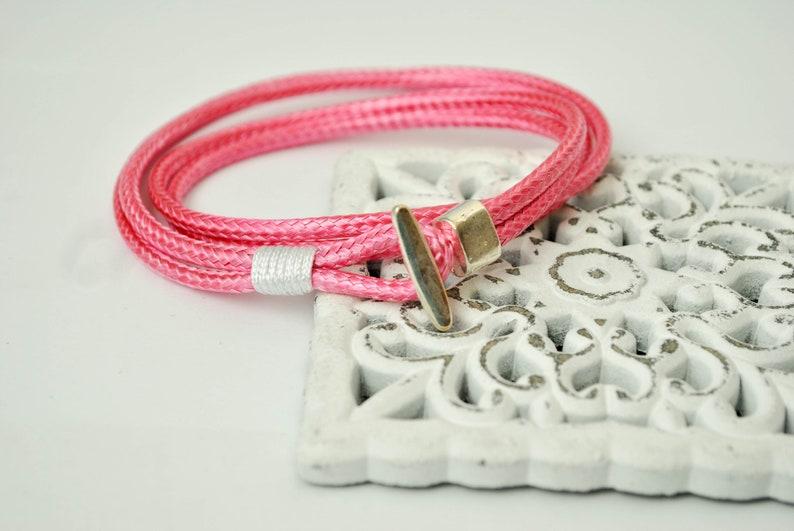 cord  bracelet Hook bracelet pink color Unisex anchor bracelet anchor male bracelet nautical bracelet mens bracelet