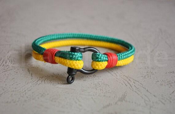 Mens rasta paracord nautical shackle bracelet nautical wristband sailing bracelet nautische armband pulsera hombre