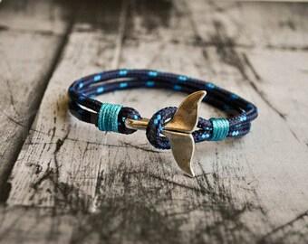 Paracord bracelet, nautical men bracelet with whale tail, blue