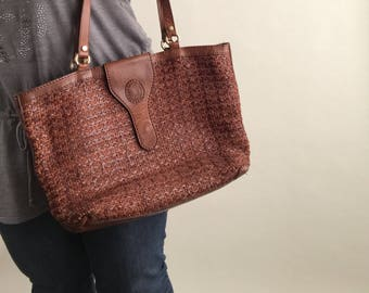 Vintage Italian Woven Leather Tote Bag / Brown Woven Leather Tote