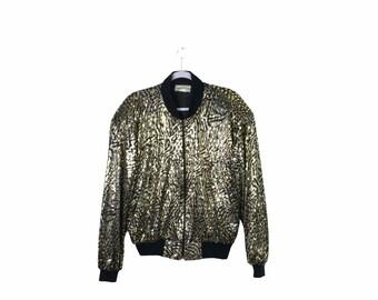 Rare Tiger in Leaves Jacket Sequin Beaded Jacket blazer thanksgiving jacket Novelty
