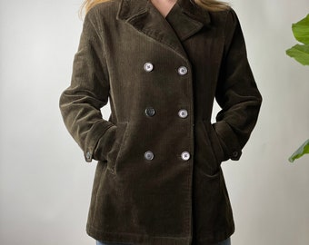 Vintage Grass Kelly Green Gap Corduroy Navy Peacoat with Quilted Insulated Satin Lining