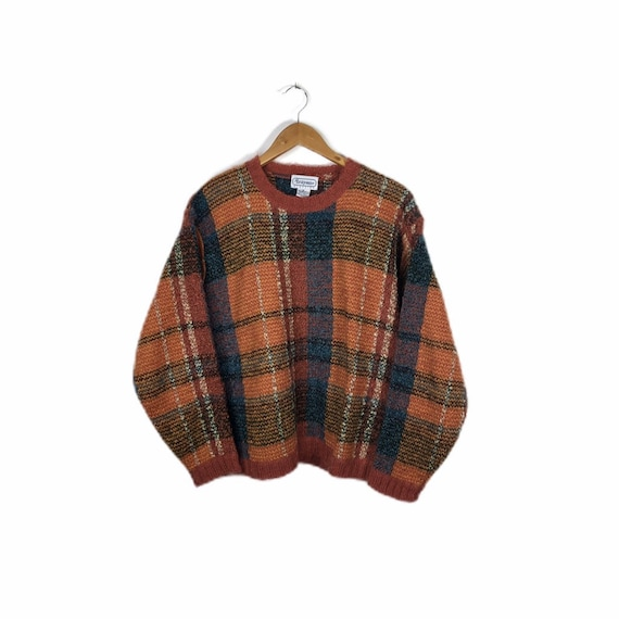 Vintage Burnt Orange Mohair Wool Blend Plaid Sweat
