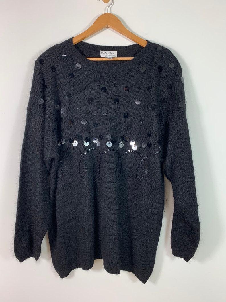 2X Plus Size Angora Blend Sweater Vintage 80/'s Black Angora Silk Blend Sequin Sweater