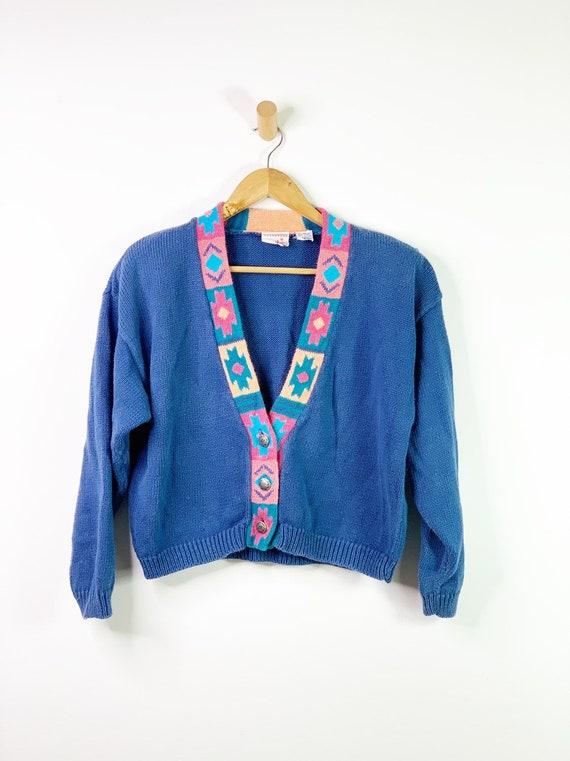 Vintage Blue 90's Southwestern Aztec Cardigan Cro… - image 8