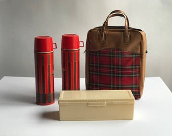 1960s Red Plaid Thermos Picnic Set / Camping Sandwich Box with 2 Matching Thermoses Tartan