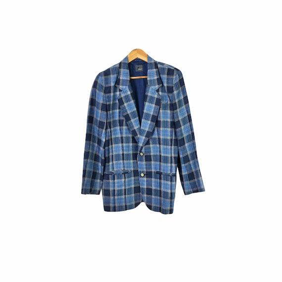 Vintage 80's Blue Plaid Linen Blazer, Size 8