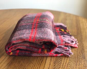Vintage Tartan Throw Blanket, Picnic Blanket, Brown and Red Plaid Throw Blanket