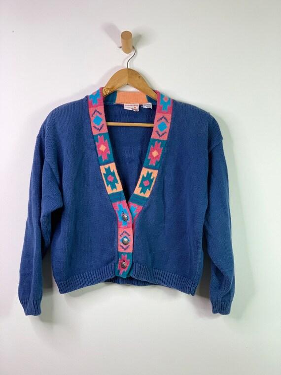 Vintage Blue 90's Southwestern Aztec Cardigan Cro… - image 3