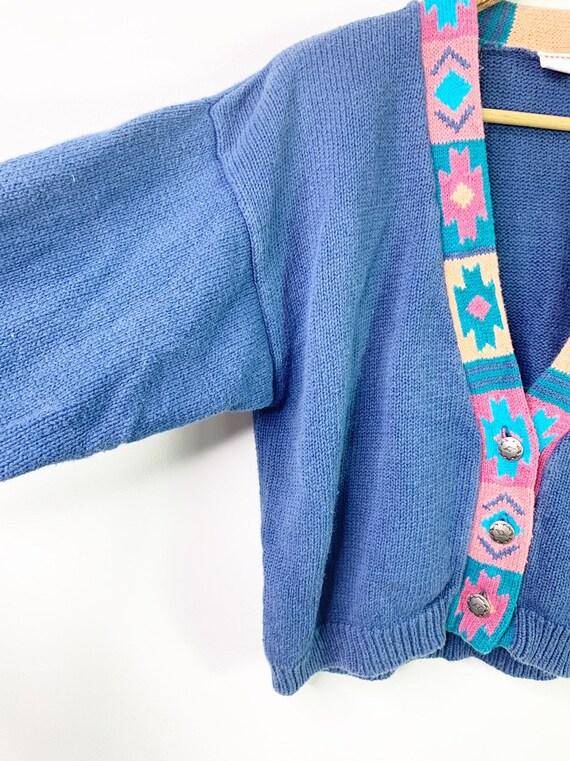 Vintage Blue 90's Southwestern Aztec Cardigan Cro… - image 4