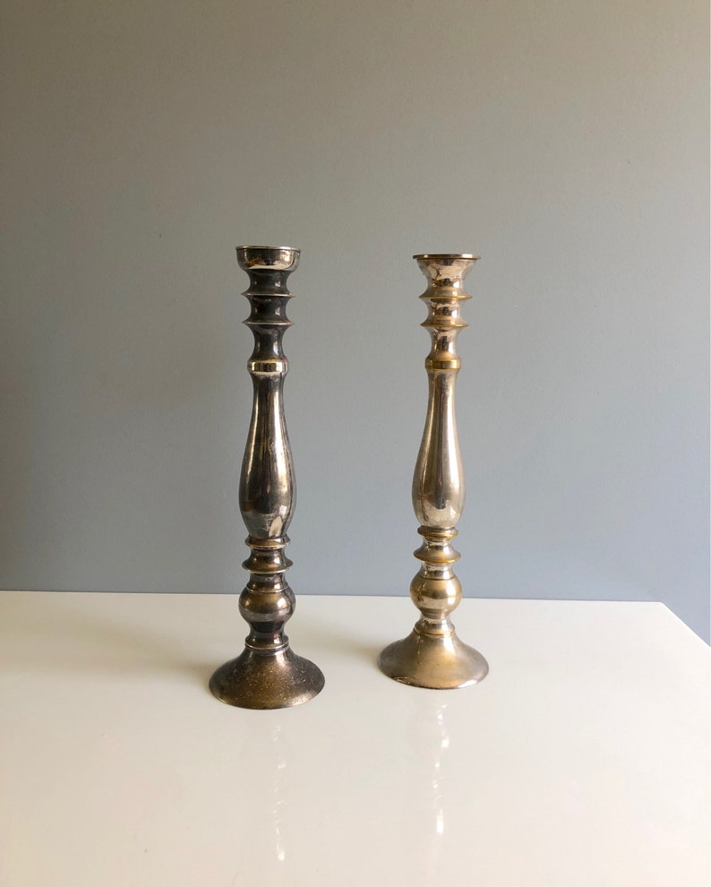 Tall Pair of Nickel Metal Palm Tree Candle Holders Silver Finish Candlesticks
