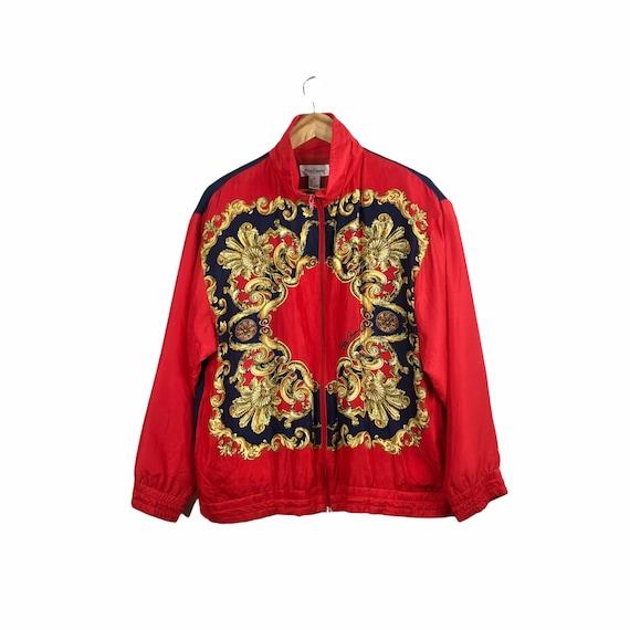 Vintage Red Blue Baroque Silk Oleg Cassini Bomber… - image 1
