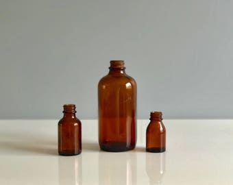 Apothecary Bottles / Glass Apothecary Bottles / Set of Amber Apothecary Bottles / Set of 3 Amber Apothecary Bottles