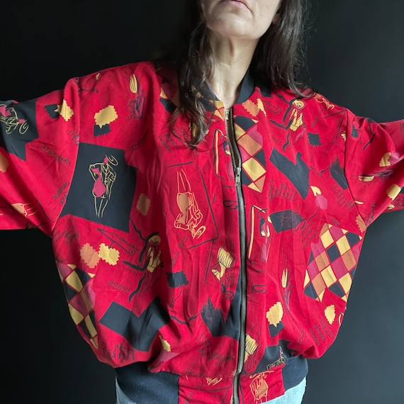 Vintage 90's Red Silk Bomber Jacket with Fashion … - image 7