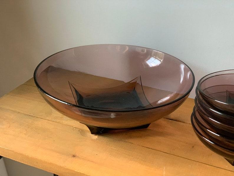 Vintage Hazel Atlas Amethyst Glass Bowl Set Purple Glass Serving Bowl Set