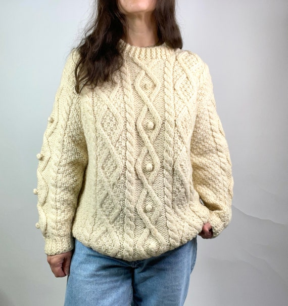 Vintage Cream Chunky Italian Wool Cable Knit Sweat