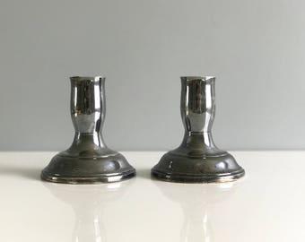 Pair of Silver Plate Revereware Candleholders /Silver plate Candlestick Holders