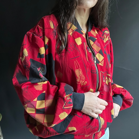 Vintage 90's Red Silk Bomber Jacket with Fashion … - image 3