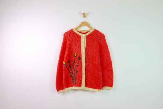 Vintage 50's Italian Coral Embroidered Mohair Card