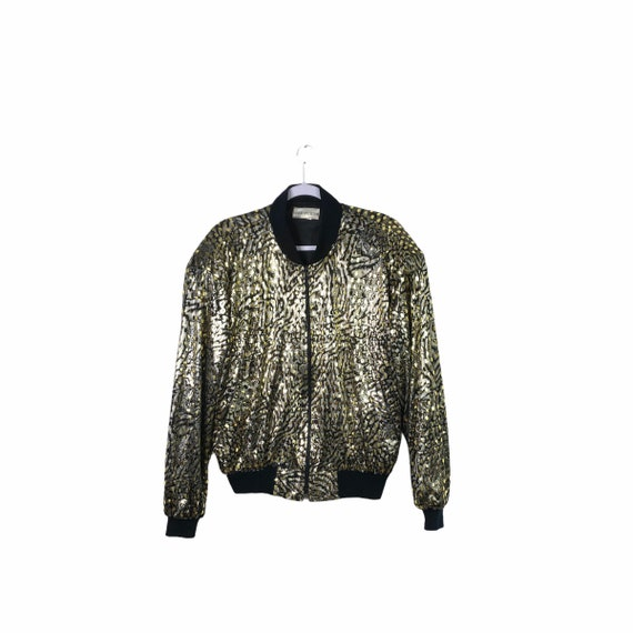 Vintage Tiger Sequin Bomber Jacket, 48""