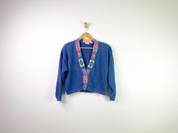 Vintage Blue 90's Southwestern Aztec Cardigan Cro… - image 1