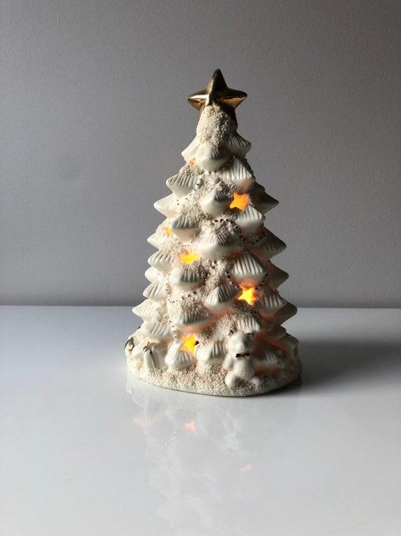 Vintage White Ceramic Christmas Tree.Vintage White Ceramic Christmas Tree Light Up Christmas Tree