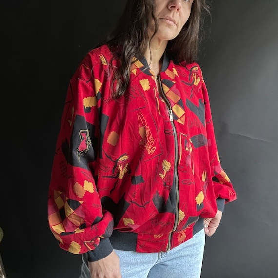 Vintage 90's Red Silk Bomber Jacket with Fashion … - image 6