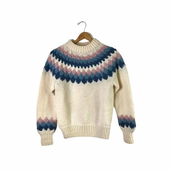 Vintage Danspun Denmark 100% Wool Blue and Pink Fa