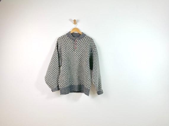 Vintage Grey White Oversized Chunky Wool Sweater