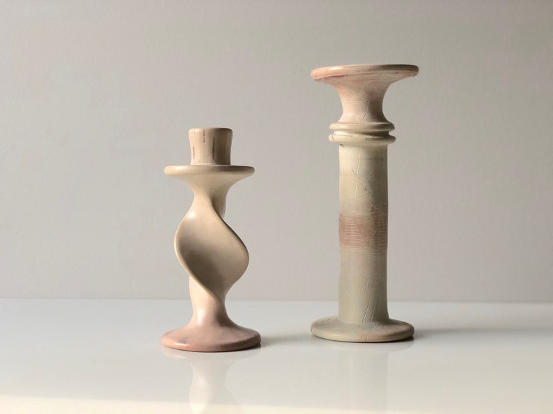 Paar besmo geschnitzt vintage kerzenleuchter twist geschnitzt