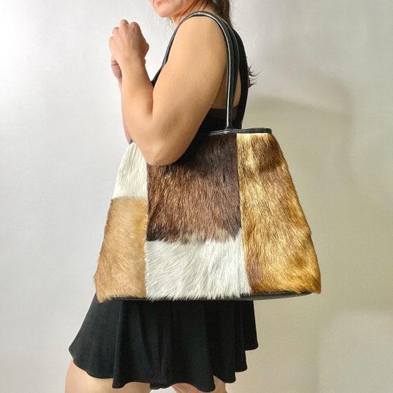 Vintage Cowhide Patchwork Tote Bag