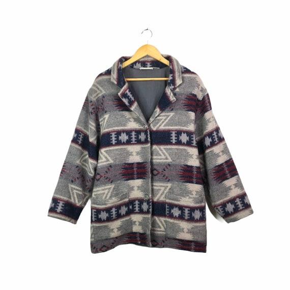 Vintage Grey Wool Tribal Blanket Coat, Size Medium