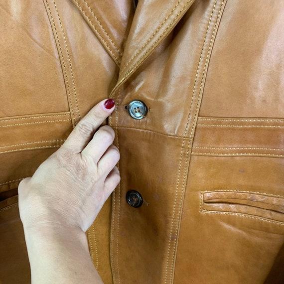 Vintage 70's Silton Cognac Brown Buttery Leather … - image 4