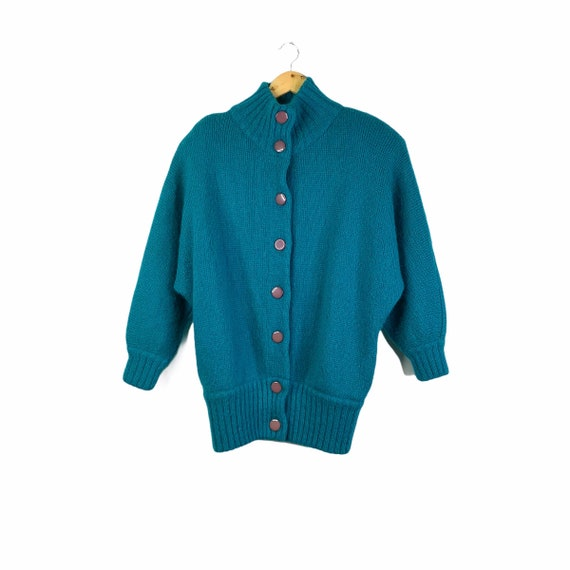Vintage 80's Teal Blue Green Mohair Blend Batwing