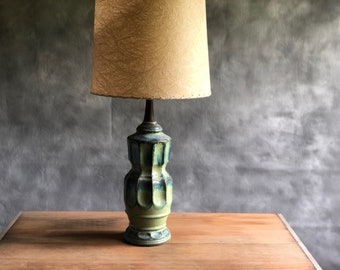 Mid Century Green and Blue Pottery Lamp with Teak