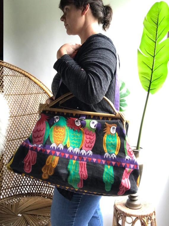 Vintage Rattan Parrot Tote Bag / Vintage Canvas Ra